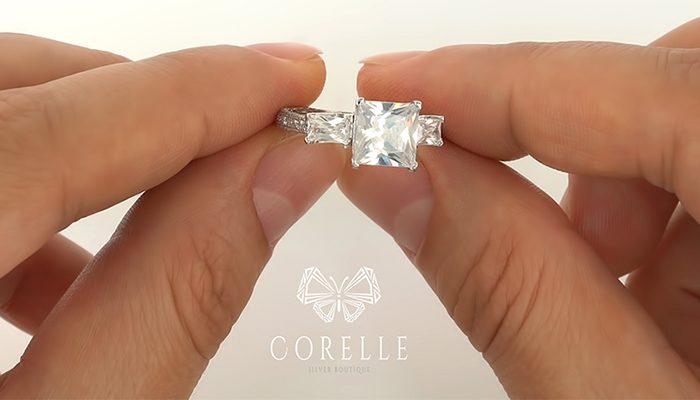 inel de logodna din argint 925, piatra Princess CZ