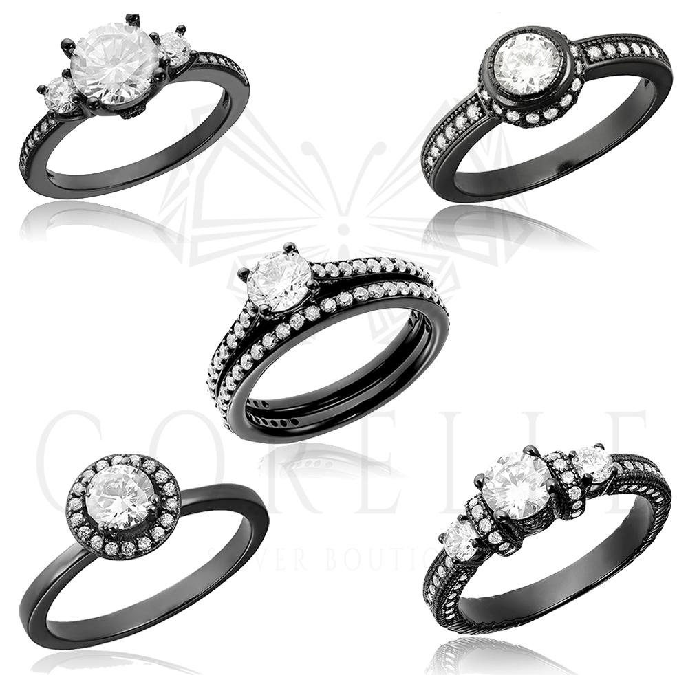 Inele de logodna argint placat cu rodium negru, Corelle