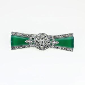 Brosa argint fundita cu Agat Verde si marcasite - ICA0002