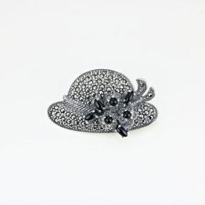 Brosa argint Palarie cu Onix Negru si marcasite - ICA0003