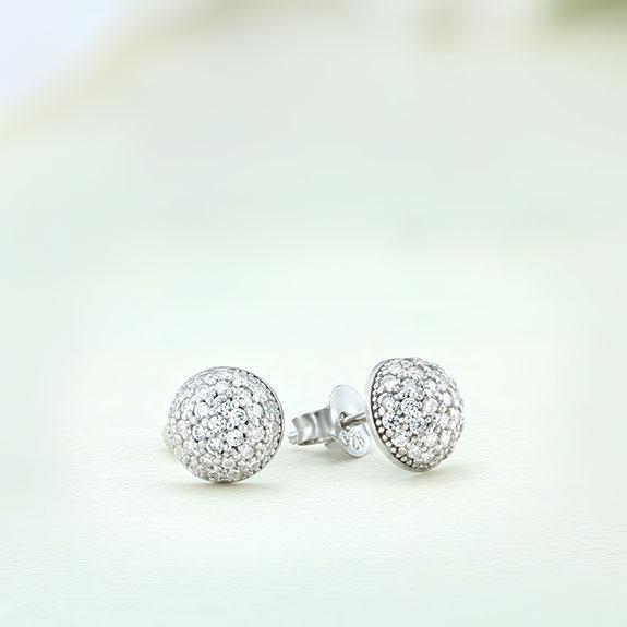 Cercei argint mici rotunzi cu pietre - ICE0054