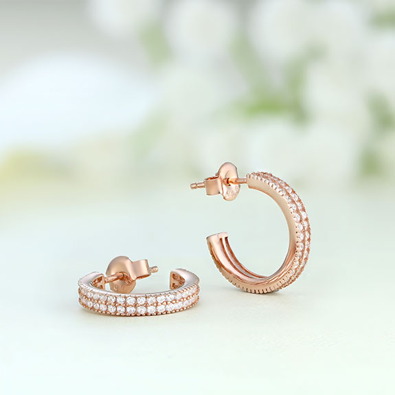 Cercei argint roz cu pietre - ICE0058