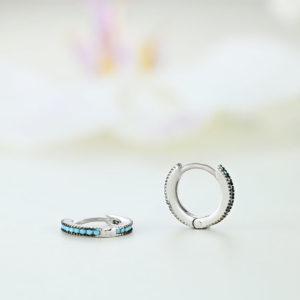 Cercei argint mici rotunzi cu pietre - ICE0076
