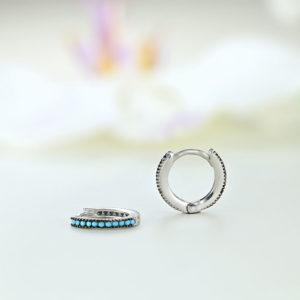 Cercei argint mici rotunzi cu piatre turcuaz - ICE0076