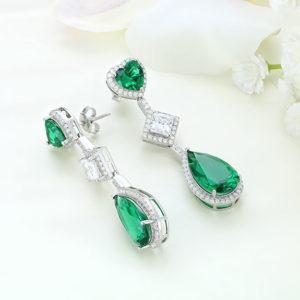 Cercei argint cu piatra Verde - ICE0077