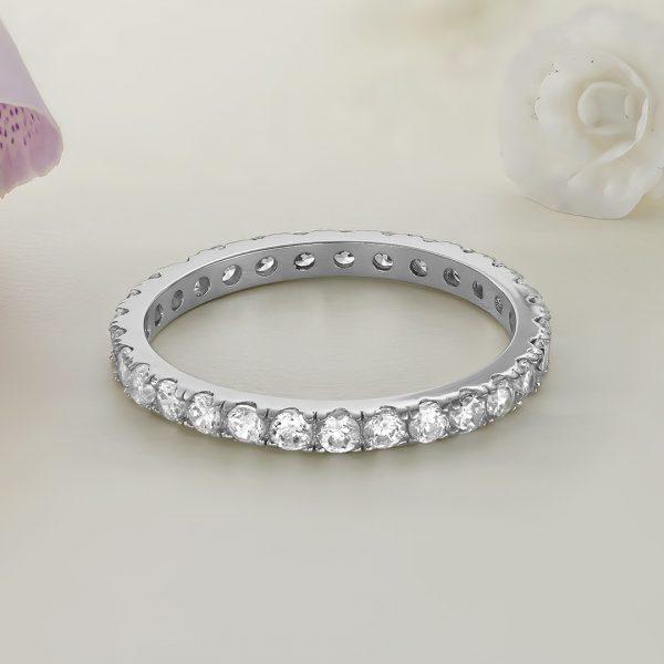 Inel argint Subtire Eternity cu pietre - ICR0005