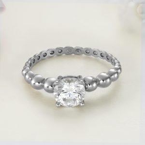 Inel logodna argint cu piatra zirconiu Solitar - ICR0008