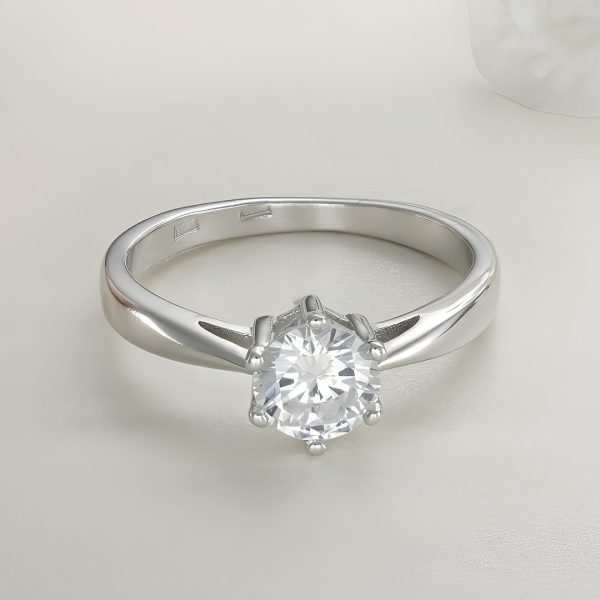 Inel logodna argint cu piatra zirconiu Solitar - ICR0027