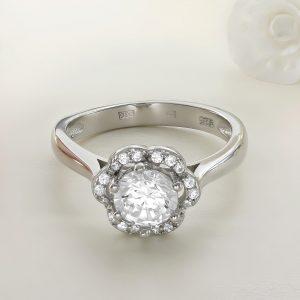 Inel logodna argint cu pietre Anturaj-Halo - ICR0030