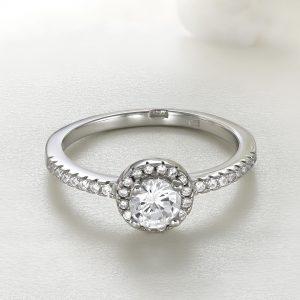Inel logodna argint cu pietre Anturaj-Halo - ICR0042