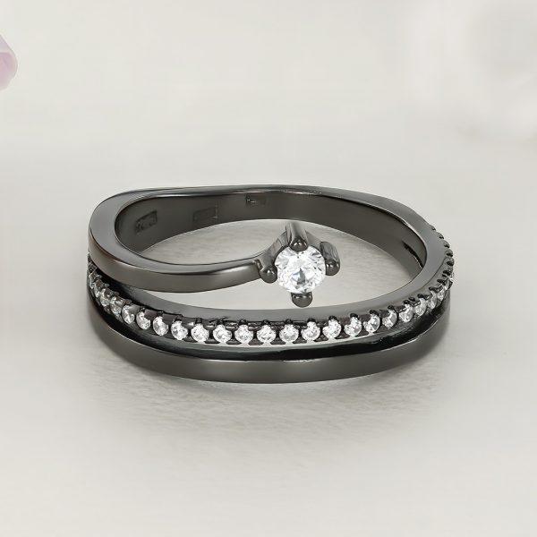 Inel argint negru cu pietre Semi Eternity - ICR0043