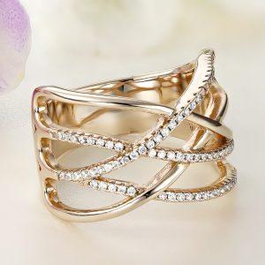 Inel argint Lat roz Fancy cu pietre - ICR0058