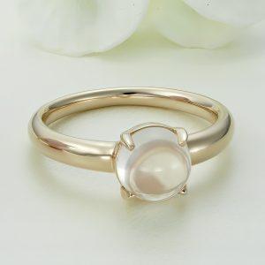Inel argint roz cu piatra Ochi de Pisica - ICR0060