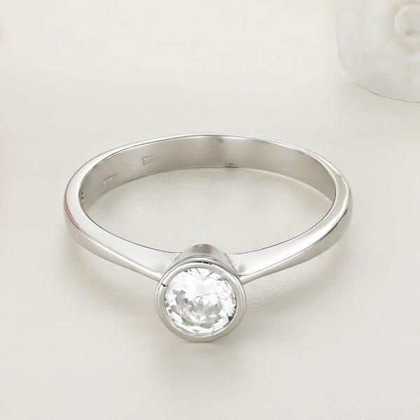 Inel logodna argint cu piatra zirconiu Solitar - ICR0061