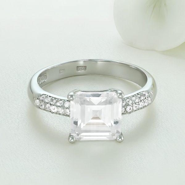 Inel logodna argint cu pietre Solitar cu pietre laterale - ICR0077