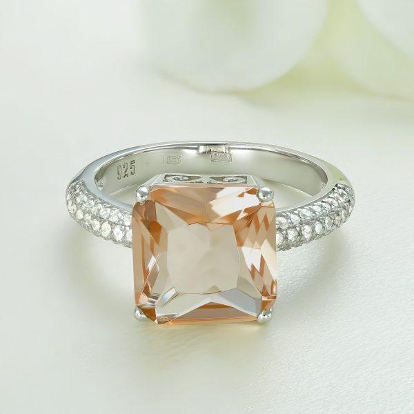 Inel argint Solitar cu piatra mare Portocalie si pietre laterale - ICR0086
