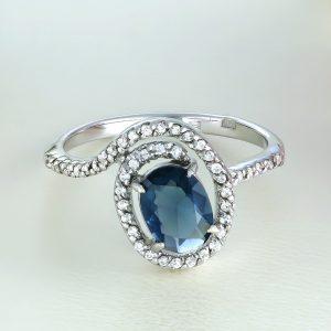 Inel argint cu piatra mare Albastra si pietre laterale - ICR0091