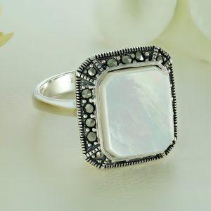 Inel argint Vintage Sidef cu marcasite Anturaj-Halo - ICR0116
