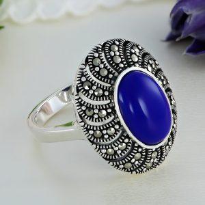 Inel argint Vintage Agat Albastru cu marcasite - ICR0117