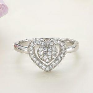Inel argint Inima cu pietre - ICR0122