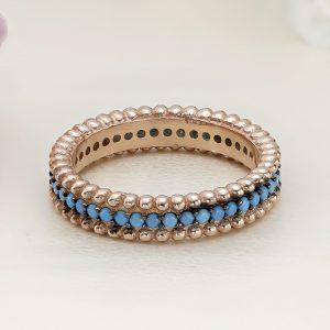 Inel argint Eternity roz cu pietre albastre - ICR0135