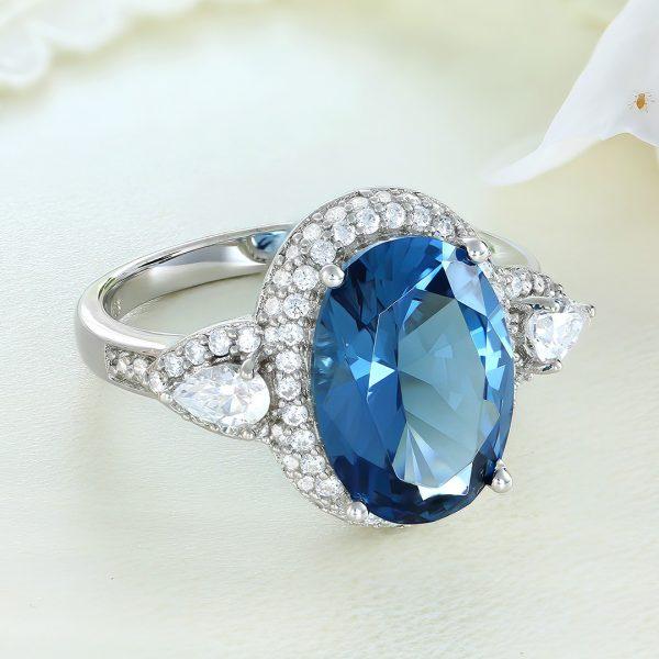Inel argint cu pietre Anturaj-Halo Albastru - ICR0146