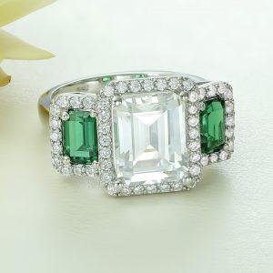 Inel argint cu pietre Anturaj-Halo Alb cu Verde - ICR0147
