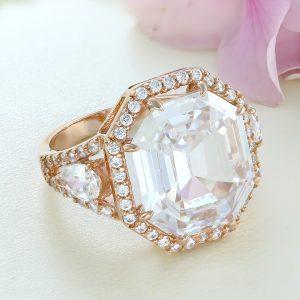 Inel argint roz cu pietre Anturaj-Halo - ICR0150