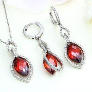 Set bijuterii argint cu pietre Ruby - ICS0042