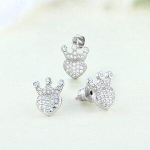 Set bijuterii argint cu pietre Heart - ICS0055