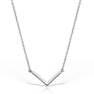 Colier argint fara pietre 45 cm V-Shape - MCN0018