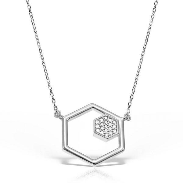 Colier argint cu pietre 46 cm Hexagon - MCN0020