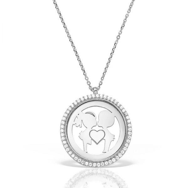 Colier argint cu pietre 41 cm Indragostiti | Kiss - MCN0036