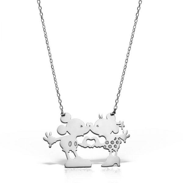 Colier argint fara pietre 51 cm Mickey&Minnie Indragostiti - MCN0052