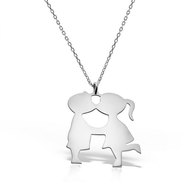 Colier argint fara pietre 42 cm Indragostiti Kiss - MCN0053
