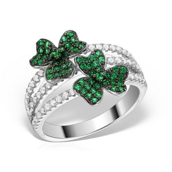 Inel argint cu pietre Floare Verde - MCR0018