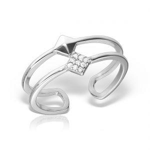 Inel argint reglabil Romb cu pietre - MCR0045