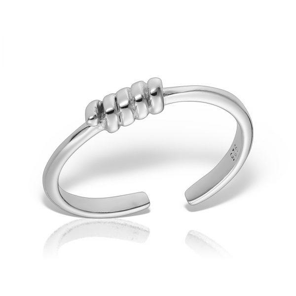 Inel argint reglabil subtire fara pietre Impletit - MCR0053
