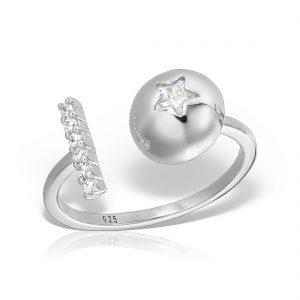 Inel argint reglabil cu pietre Geometric Mix - MCR0066