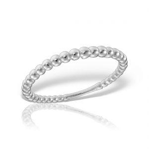 Inel argint subtire cu bile - MCR0096