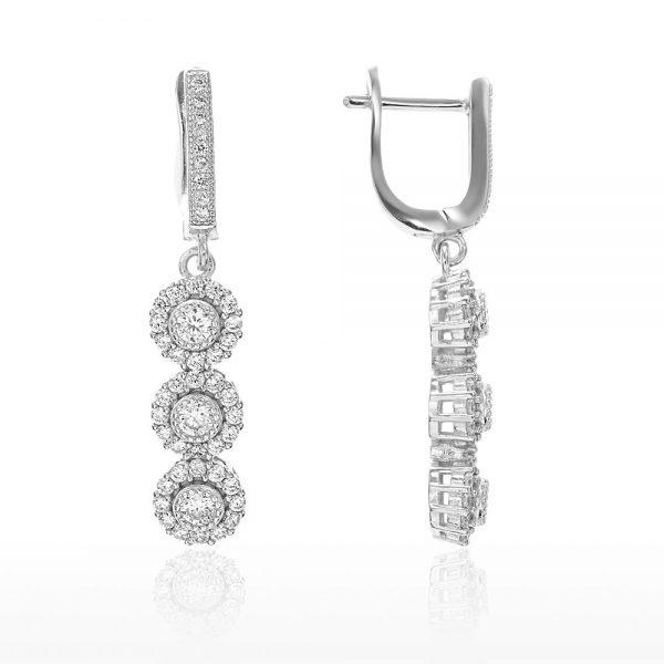 Cercei argint Latch Back Drop Earrings Zirconii TRSE001, Bijuterii - Corelle