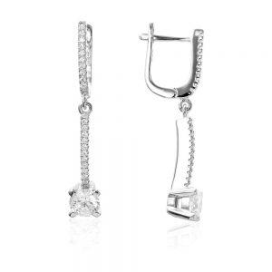 Cercei argint Latch Back Drop Earrings Zirconii TRSE003, Bijuterii - Corelle