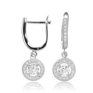 Cercei argint Latch Back Drop Earrings Zirconii TRSE004, Bijuterii - Corelle