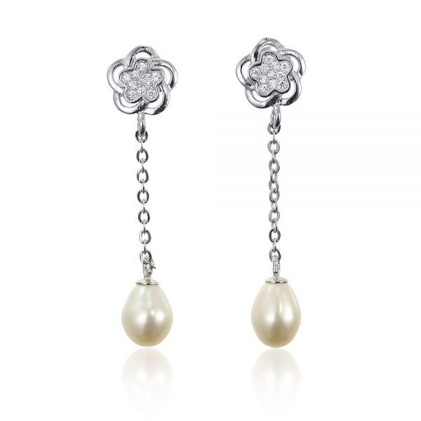 Cercei argint Surub Drop Earrings Zirconii TRSE006, Bijuterii - Corelle