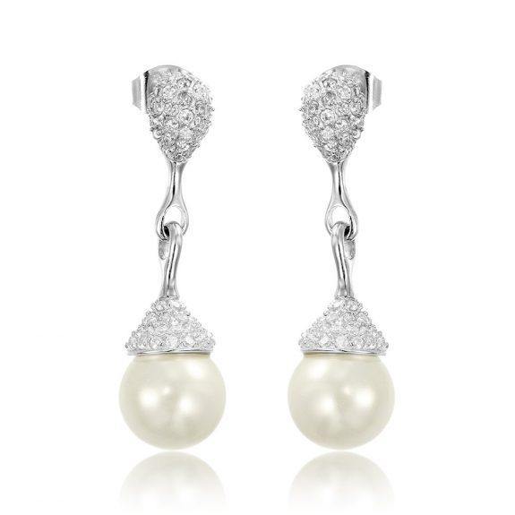 Cercei argint Surub Drop Earrings Zirconii si Perla TRSE068, Bijuterii - Corelle