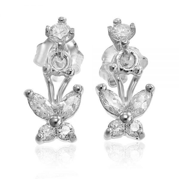 Cercei argint Surub Drop Earrings Zirconii TRSE070, Bijuterii - Corelle