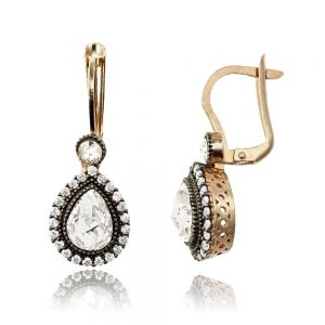 Cercei argint Latch Back Drop Earrings Zirconii TRSE089, Bijuterii - Corelle