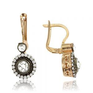 Cercei argint Latch Back Drop Earrings Zirconii TRSE090, Bijuterii - Corelle