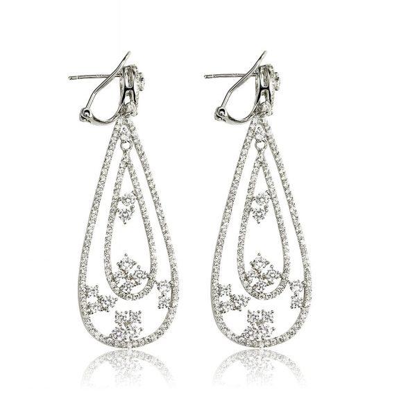 Cercei argint Omega Clip Drop Earrings Zirconii TRSE092, Bijuterii - Corelle