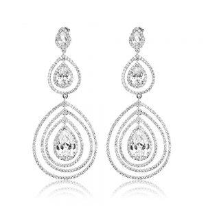Cercei argint Surub Drop Earrings Zirconii TRSE094, Bijuterii - Corelle